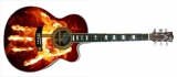 Гитара с рисунком на корпусе : Огненная ладонь