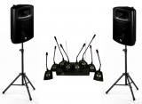 Готовый комплект : Микрофоны - база - колонки - стойки - провода